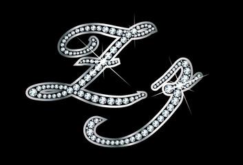 Script Diamond Bling Zz Letters