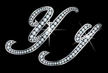 Script Diamond Bling Yy Letters
