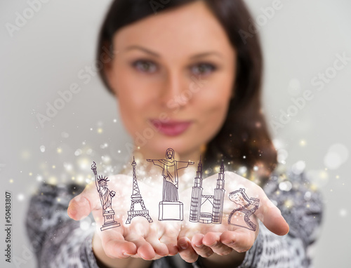 Closeup portrait of woman sharing virtual symbols of famous tour