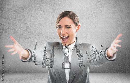Closeup portrait of woman playing with virtual symbols of famous