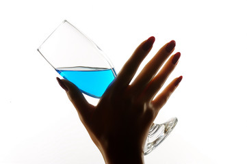 Special blue drink glass with beautiful manikin hand