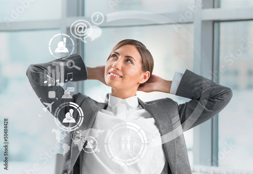 Technology concept. Businesswoman and virtual interface with web