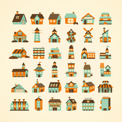 retro house icon set