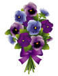 Spring Pansy Flower Bouquet, lavender and blue with ribbon bow