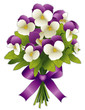 Johnny Jump Ups Pansy Flower Bouquet, lavender ribbon bow