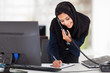 middle eastern businesswoman working