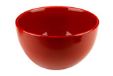 Red empty bowl isolated on white