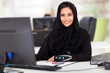 modern Arabian businesswoman in traditional clothing