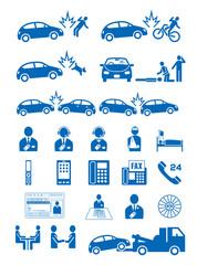 自動車人身事故と保険会社のピクトグラム