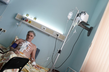Pensive patient in a hospital ward