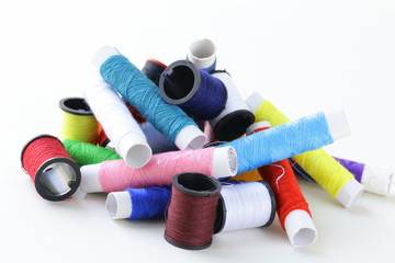 sewing utensils - coils colored threads