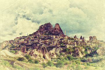 The Uchisar castle in Cappadocia, Turkey