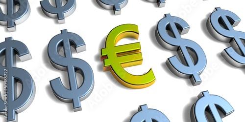 3D Goldzeichen - Euro vs Dollar