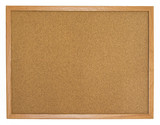 Isolated blank cork board with wooden frame