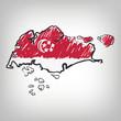 Singapur Karte Zeichnung