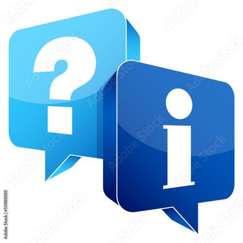 Speech Bubbles Question Light Blue & Information Blue