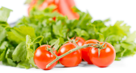 Fresh tomatoes on vine with green salad