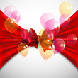 background with red bow and flying transparent balloons