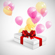 gift box with red bow and flying  transparent balloons