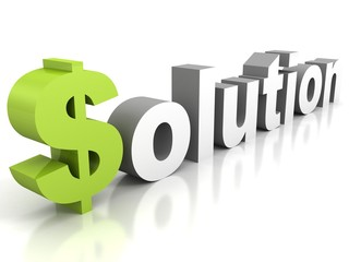 white concept SOLUTION text with green dollar sign