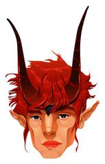 Mythological demon head.
