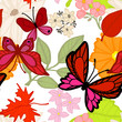 Flying butterflies in the summer. Seamless pattern