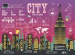 buildings,City info graphic, colorful vector skyline