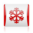 snowflake red and white square web glossy icon