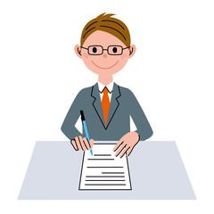 書類 ビジネス 男性