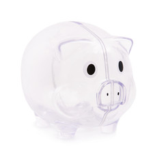 Empty piggy bank isolated on white background - poverty concept