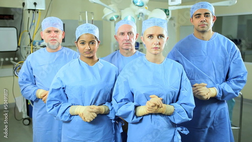 Portrait Caucasian Doctor Wearing Scrubs Operating Room