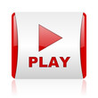 play red and white square web glossy icon