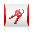 keys red and white square web glossy icon