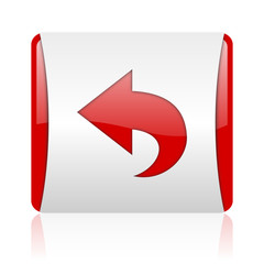 back red and white square web glossy icon
