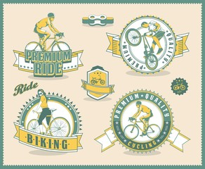 vintage bicycle labels, vector background