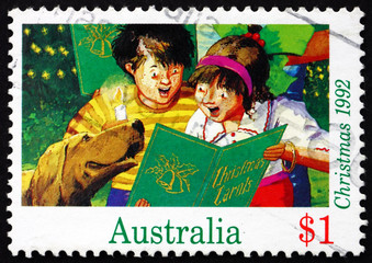 Postage stamp Australia 1992 Boy and Girl Singing, Christmas