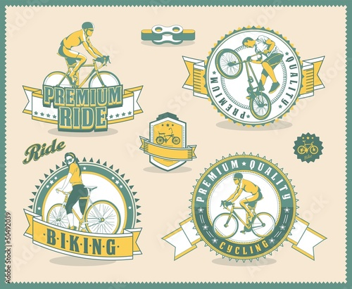 vintage bicycle labels, vector background