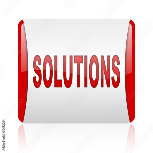 solutions red and white square web glossy icon