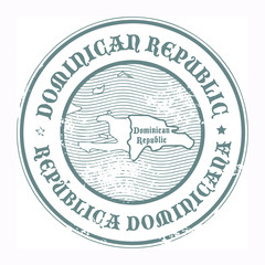 Stamp with the name and map of Dominican Republic, vecto