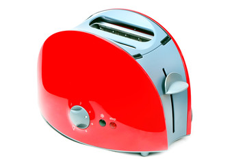 Modern red toaster isolated over white