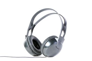 Big black headphones isolated over white
