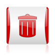 recycle red and white square web glossy icon