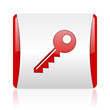 key red and white square web glossy icon