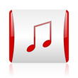music red and white square web glossy icon