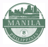 Stamp with the name of Manila, Philippines, vector