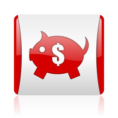 piggy bank red and white square web glossy icon