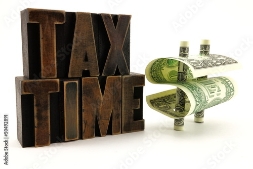 Vintage Tax Letters and Dollar Bill Money Sign