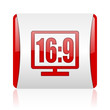 16 9 display red and white square web glossy icon