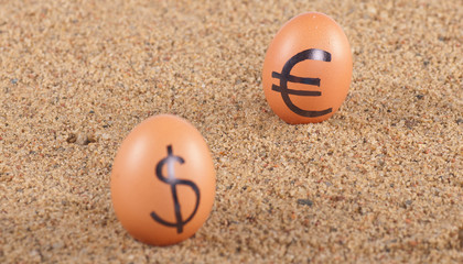 Image of big white eggs with dollarand euro  signs on a sand