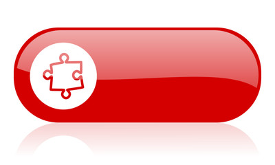 puzzle red web glossy icon